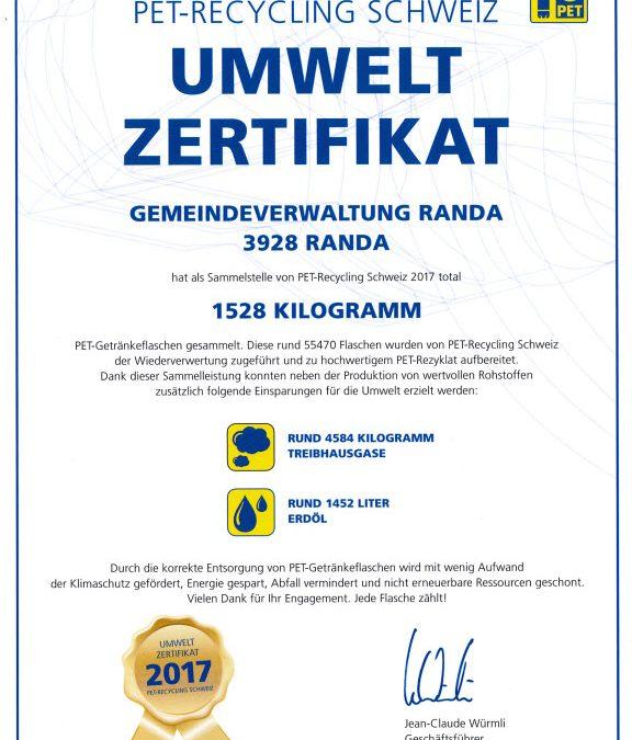 PET-Recycling Schweiz – Umwelt Zertifikat für die Gemeinde Randa